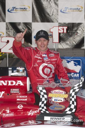 Victory lane: Scott Dixon celebrates his victory
