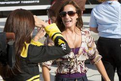 Victory lane: Kyle Busch's lovely girlfriend Samantha Sarcinella celebrates