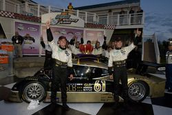 Victory lane: race winners Mark Wilkins and Brian Frisselle celebrate