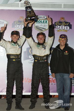 Podium: race winners Mark Wilkins and Brian Frisselle celebrate with Jamie McMurray