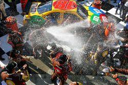 Victory lane: champagne celebration for race winner Kyle Busch