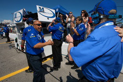 Mathiasen Motorsports team members celebrate the pole position of Jonathan Bomarito