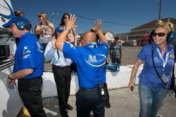 Mathiasen Motorsports team members celebrate the pole position of Jonathan Bomarito