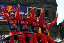 Podium: winners Sébastien Loeb and Daniel Elena, second place Daniel Sordo and Marc Marti