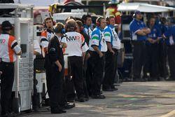 Newman Wachs Racing team members watch warmup