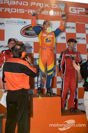 Podium: race winner Andrew Ranger celebrates with Scott Steckly and Jason Hathaway