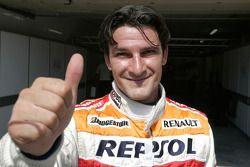 Giorgio Pantano celebrates his pole position