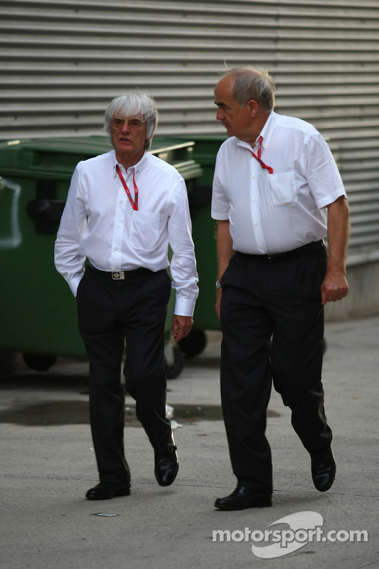 Karl Heinz Zimmermann and Bernie Ecclestone, President and CEO of Formula One Management