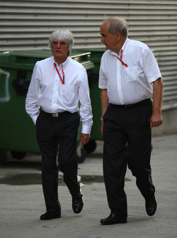 Karl Heinz Zimmermann and Bernie Ecclestone, President and CEO of Formula One Management