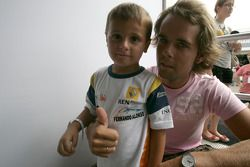 Andy Soucek with a young fan