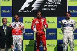 Podium: Sieger Felipe Massa, 2. Lewis Hamilton, 3. Robert Kubica