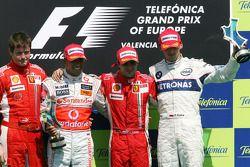 3º Robert Kubica, 2º Lewis Hamilton, 1º Felipe Massa