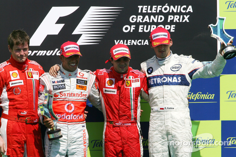 12- GP de Europa 2008 (24 años, 10 meses y 20 días): 3º Robert Kubica, 2º Lewis Hamilton, 1º Felipe Massa