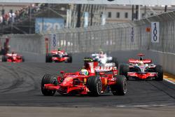 Felipe Massa, Scuderia Ferrari, F2008 leads Lewis Hamilton, McLaren Mercedes