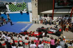 Race winner Felipe Massa and Lewis Hamilton