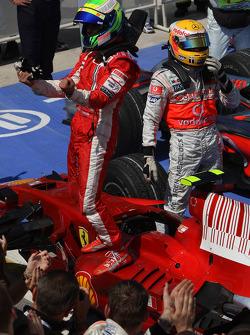 Race winner Felipe Massa celebrates