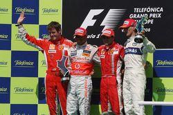 Podium: race winner Felipe Massa, second place Lewis Hamilton, third place Robert Kubica, and Rob Sm