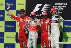 Podium: race winner Felipe Massa, second place Lewis Hamilton, third place Robert Kubica, and Rob Smedly