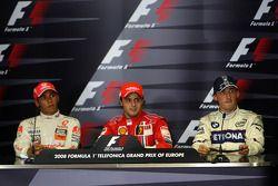 FIA press conference: race winner Felipe Massa, second place Lewis Hamilton, third place Robert Kubi