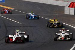 Romain Grosjean leads Lucas di Grassi, Andy Soucek and Pastor Maldonado