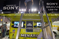 The Menards crew watches the race