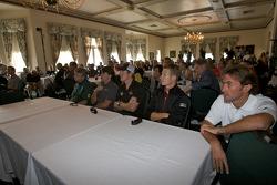 Detroit Grand Prix media lunch at the Detroit Yacht Club: Paul Drayson, Oriol Servia, Scott Dixon, Ryan Briscoe and Olivier Beretta
