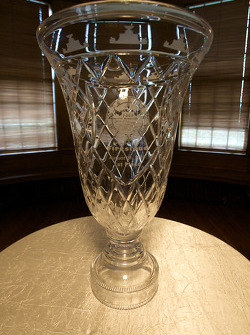 The Detroit Grand Prix winner trophy sits inside the Detroit Yacht Club