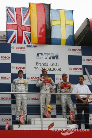 Podium: winner Timo Scheider, second place Paul di Resta, third place Mattias Ekström