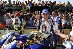 Second place Jorge Lorenzo celebrates