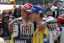 Race winner Valentino Rossi and second place Jorge Lorenzo