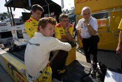 Patrick Long with Roger Penske and Penske Racing team members
