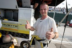 GT1 pole winner Jan Magnussen celebrates