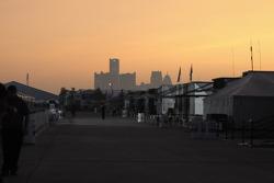 Coucher de soleil sur le Raceway sur le paddock Belle Isle