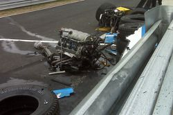 The wrecked #01 Chip Ganassi Racing with Felix Sabates Lexus Riley after the crash of Scott Pruett