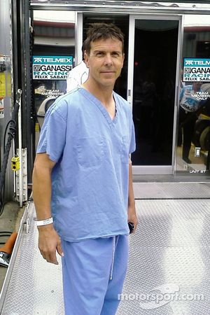 Scott Pruett in hospital jammies after his accident