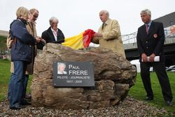 Monument Ceremony of Paul Frere attended by Bernie Ecclestone, President and CEO of Formula One Mana