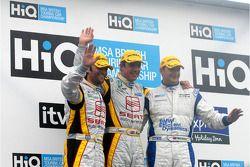 Podium: race winner Jason Plato, second place Mat Jackson and third place Darren Turner