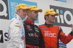 Race winner Fabrizio Giovanardi, second place Colin Turkington and third place Adam Jones