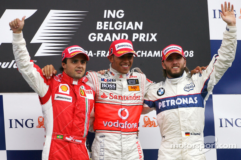 2008: 1. Lewis Hamilton, 2. Felipe Massa, 3. Nick Heidfeld