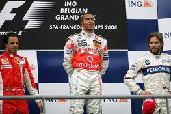 Podio: ganador de la carrera Lewis Hamilton; segundo lugar Felipe Massa y Nick Heidfeld el tercer lu