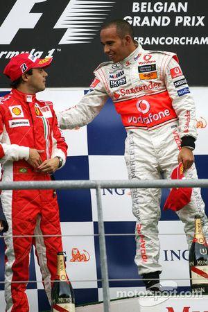 Podio: ganador Lewis Hamilton y Felipe Massa el segundo lugar