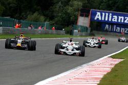 David Coulthard, Red Bull Racing, RB4; Rubens Barrichello, Honda Racing F1 Team