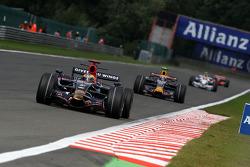 Sébastien Bourdais, Scuderia Toro Rosso, STR03 leads Mark Webber, Red Bull Racing, RB4