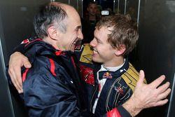 Franz Tost, Scuderia Toro Rosso, Team Principal celebrates with Sebastian Vettel, Scuderia Toro Ross