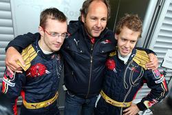 Sébastien Bourdais, Scuderia Toro Rosso with Gerhard Berger, Scuderia Toro Rosso, 50% Team Co Owner and Sebastian Vettel, Scuderia Toro Rosso