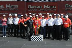 Raphael Matos and team accepting the Indy Lights championship trophy