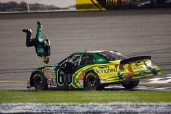 Race winner Carl Edwards celebrates