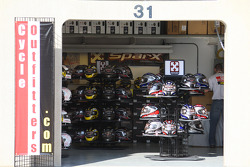 Helmets available for purchase at the various vendor shops