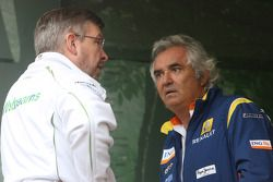 Rubens Barrichello, Honda Racing F1 Team et Flavio Briatore, Renault F1 Team