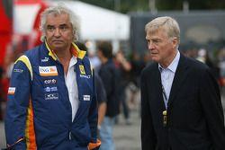 Flavio Briatore, Renault F1 Team, Team Chief, Managing Director and Max Mosley, FIA President